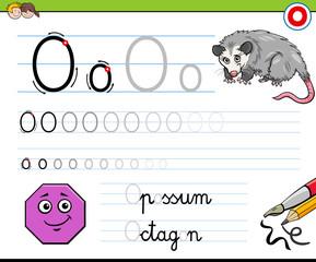 writting letter O worksheet for children