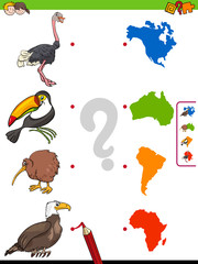 match animals and continents shapes educational game