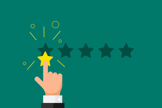 Online feedback reputation bad quality customer review concept. Businessman hand finger pointing 1 one gold star rating on green background. Vector negative rank vote result illustration