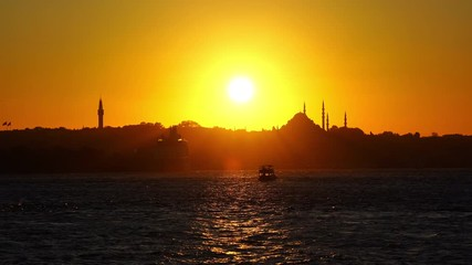 Wall Mural - Beautiful sunset at Istanbul in Turkey.