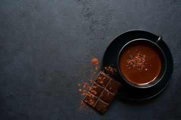 Canvas Prints Chocolate Homemade hot chocolate with winter spices. Top view with copy space.