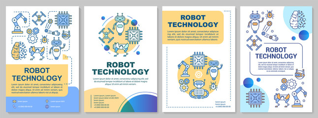 Robot technology brochure template. Engineering. Flyer, booklet, leaflet print, cover design with linear illustrations. Vector page layouts for magazines, annual reports, advertising posters
