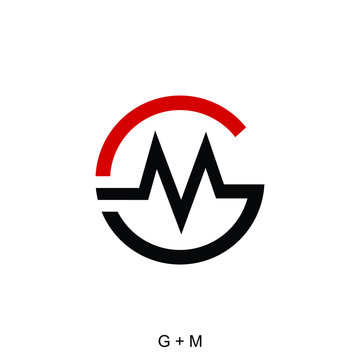 letter G and M concept, GM logo template, GM circle icon