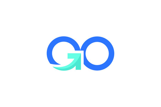 typography of GO with arrow sign on letter G ready to use