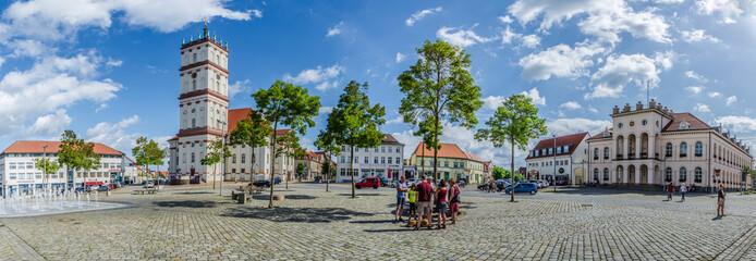 Marktplatz in Neustrelitz im Panorama