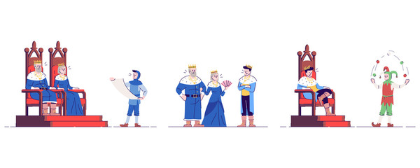Medieval monarchs and servants flat vector illustrations set. Historical king,queen, prince, herald and jester isolated cartoon characters with outline elements on white background