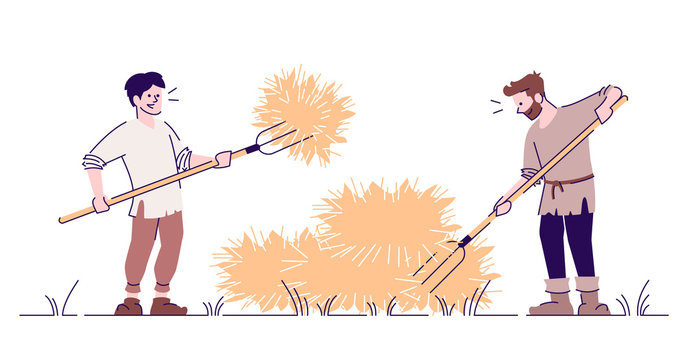 Medieval peasants stacking hay flat vector illustration. Farmers with pitchforks isolated cartoon characters with outline elements on white background. Ancient harvesting and agriculture