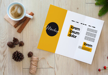 Trifold Brochure Mockup with Autumn Decoration