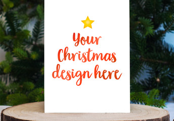 Christmas Card Mockup on Slab of Wood
