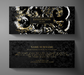 Luxurious VIP Invitation template with surreal silver, gold abstract texture on black background. Premium class design for  Gift certificate, Voucher, Gift Card