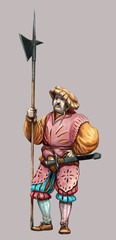 Mercenary with  halberd. Medieval soldier illustration. Men at arms.