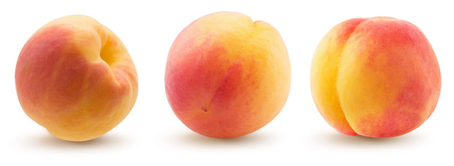 collection of peaches isolated on a white background Fotobehang