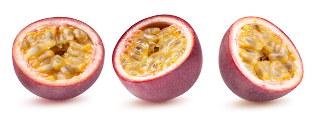 collection of passion fruit isolated on a white background