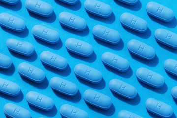 Pils of prescription PrEP Pills for Pre-Exposure Prophylaxis to help protect people from HIV.