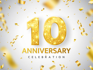 10th Anniversary celebration. Gold numbers with glitter gold confetti, serpentine. Festive background. Decoration for party event. Tenth year jubilee celebration. Vector illustration