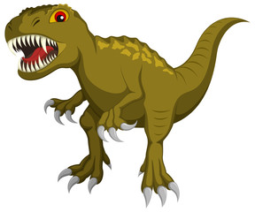 Vector illustration of a cartoon Tyrannosaurus Rex dinosaur.
