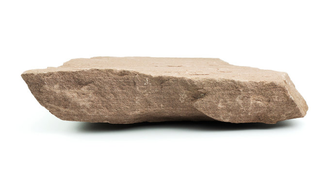 Stone pedestal Empty Showing a Rough Texture with a blurred white background, Product Display Shelf, Blank for mockup design..