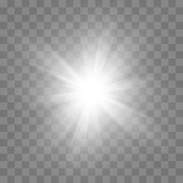White glowing light burst explosion with transparent. Cool effect decoration with ray sparkles. Transparent shine gradient glitter