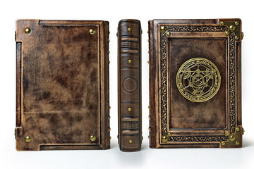 Vintage book captured in standing position. The transmutation circle symbol, on the font cover is attributed to a German alchemist from the 17th century