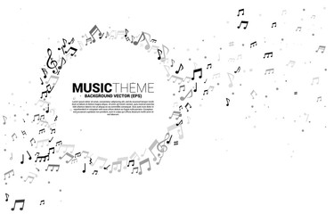 Vector template banner and poster music melody note dancing flow . Concept background for song and concert theme. Fotobehang
