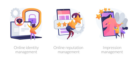 Web presence establishment, crm software, self presentation. Online identity management, online reputation management, impression management metaphors. Vector isolated concept metaphor illustrations