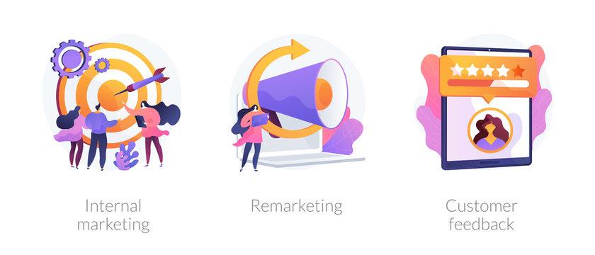 Advertising business models, retargeting strategy, rating system icons set. Internal marketing, remarketing, customer feedback metaphors. Vector isolated concept metaphor illustrations