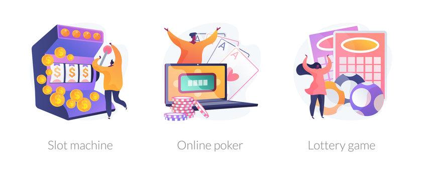 Gambling addiction, internet casino dependence, dangerous entertainment icons set. Slot machine, online poker, lottery game metaphors. Vector isolated concept metaphor illustrations