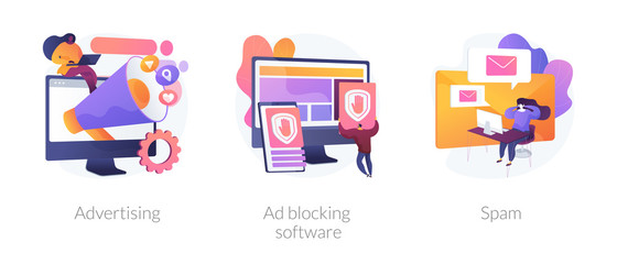 SMM business, annoying online notifications and internet newsletter protection icons set. Advertising, ad blocking software, spam metaphors. Vector isolated concept metaphor illustrations
