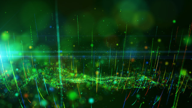 Abstract background shining green and colorful dust particles glow, wave and grow up movement. 3D rendering.