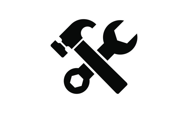 tools, hammer and wrench icon vector