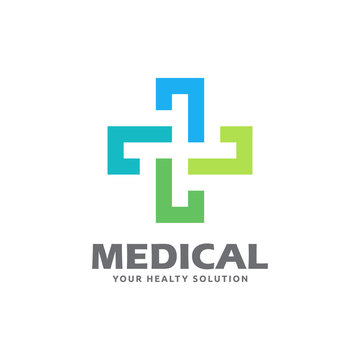 Cross logo template related to medical clinic, pharmaceutical or hospital