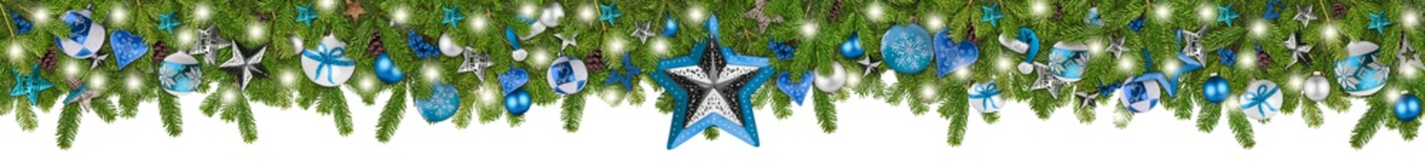 christmas garland super wide panorama banner with fir branches blue turquoise and wooden silver stars lights and baubles xmas russtic traditional natural tree decoration isolated white background