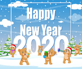 Happy new year winter background with bear a hat red knitted and gift boxes
