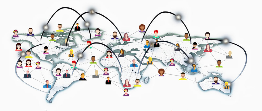 Socially connected world planet or globe. Business social media social networks and communication relevance
