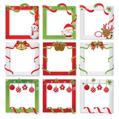 Set of Christmas frame,vector border christmas, picture frame design