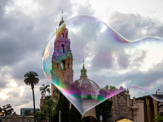 Bubble in the shape of a heart in front of museum