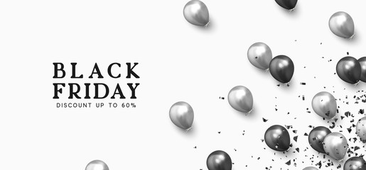 Black Friday Sale. Festive background with helium balloons. Backdrop falling realistic ballon black and silver color. Sale Discount Poster, web banner. vector illustration