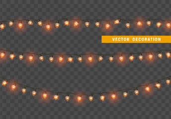 Christmas lights. Design element, decorations new year glowing lights. Decorative Xmas realistic objects. Holiday decor set of garlands. Isolated on transparent background. vector illustration Fototapete