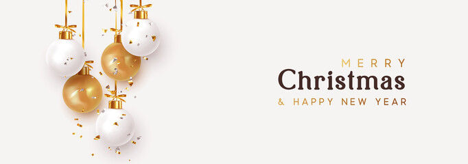 In de dag Bol Christmas banner. Hanging white and gold Xmas decorative bauble, 3d golden metallic ball on the ribbon. Festive realistic decor. Horizontal Christmas poster, header website. vector illustration