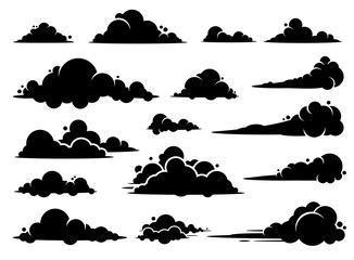 Cloud vector graphic design. A set of clouds illustration in the sky in black silhouette.