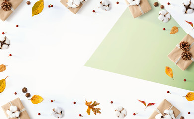 Wall Mural - Gift boxes with autumn theme - overhead view flat lay