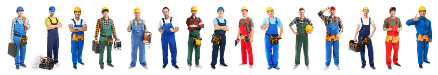 Different male electricians on white background