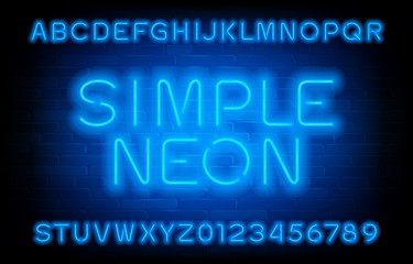 Simple Neon alphabet font. Blue neon light type letters and numbers. Brick wall background. Stock vector typeface for your typography design.