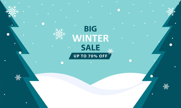 Winter Sale Illustration with Flat Style. Designed for web, banner, background, layout, flyer, presentation, backdrop, etc. Suitable for your business.