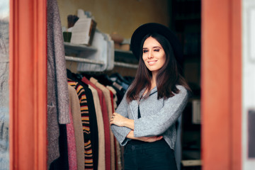 Fashionable Woman in Clothing Store with Fedora Hat