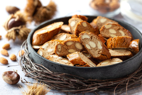 Freshly baked homemade biscotti with chestnut flour - Italian almond biscuits cantuccini