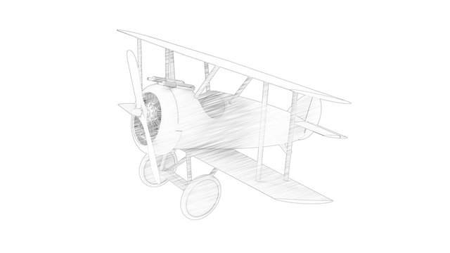 3d rendering of a world war 1 bi plane isolated in white background