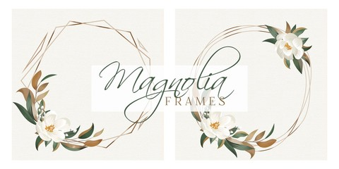 Magnolia Leaves Modern Floral Wreath Frames for Wedding Invitation Cards