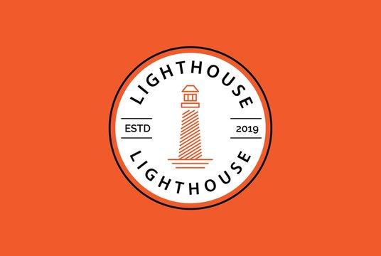 Modern simple lighthouse coastal beach logo design vector graphic