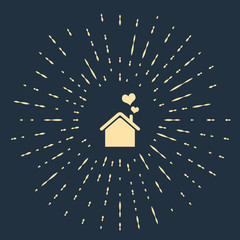 Beige House with heart shape icon isolated on dark blue background. Love home symbol. Family, real estate and realty. Abstract circle random dots. Vector Illustration